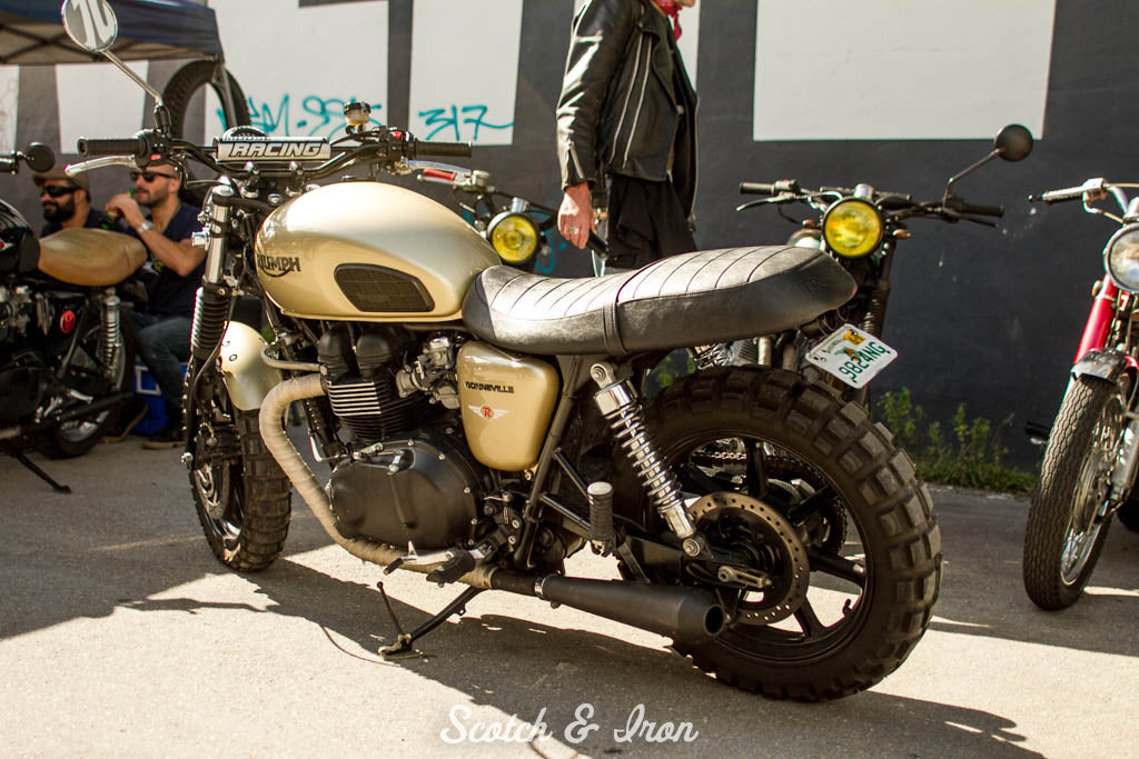 triumph bonneville gold with dual sport tires
