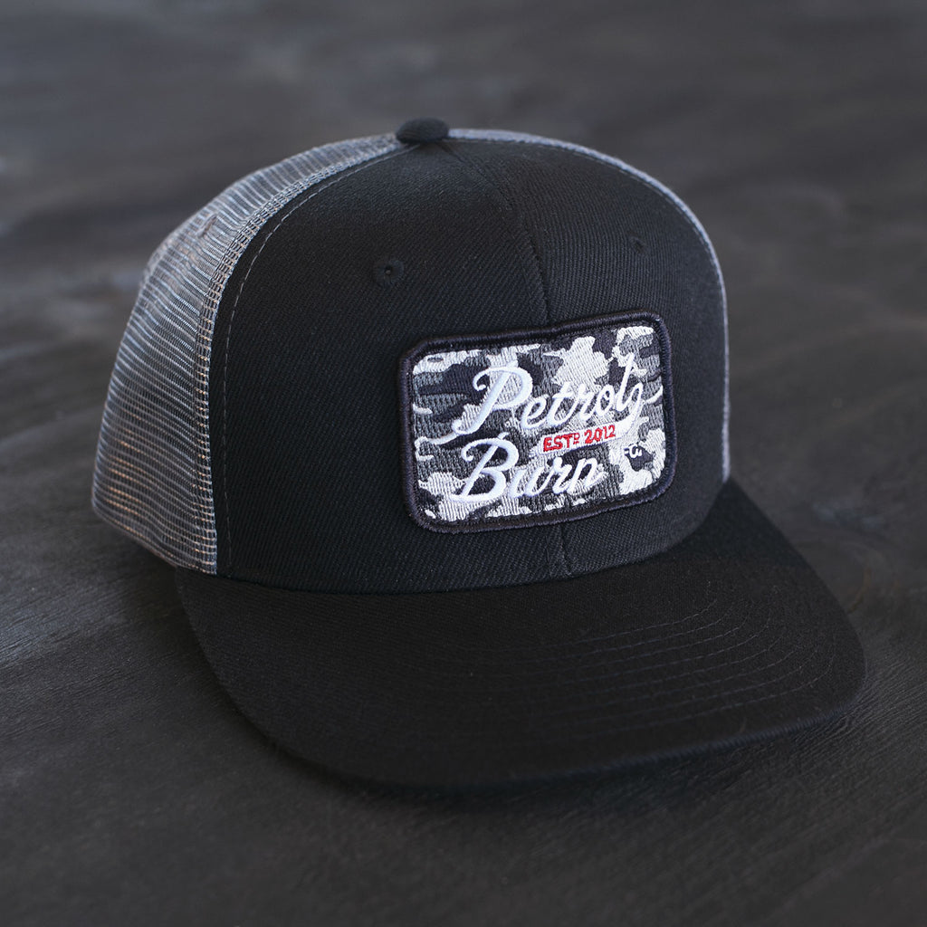 petrol burn camo moto lifestyle trucker hat