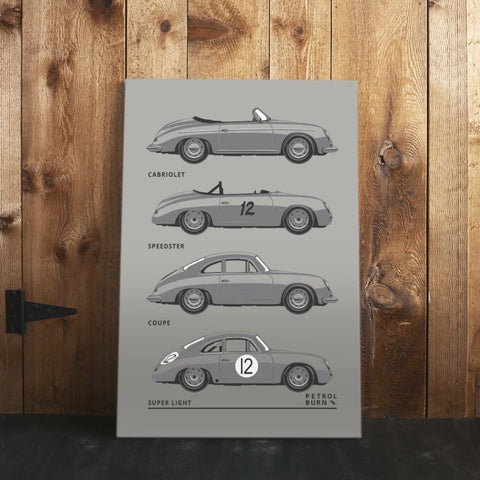 356 911 inspired canvas print coupe speedster artwork