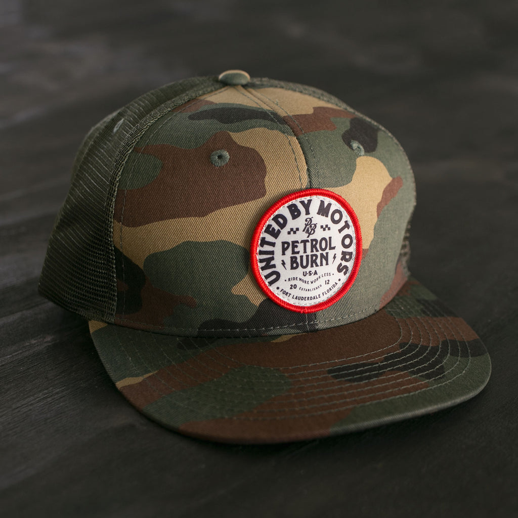 petrol burn united by motors woodland camo hat