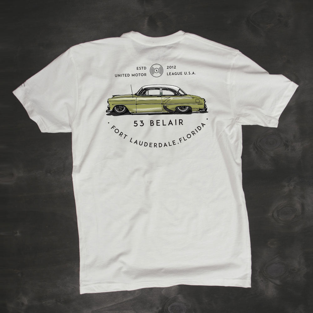 chopped and bagged chevy belair mens t-shirt