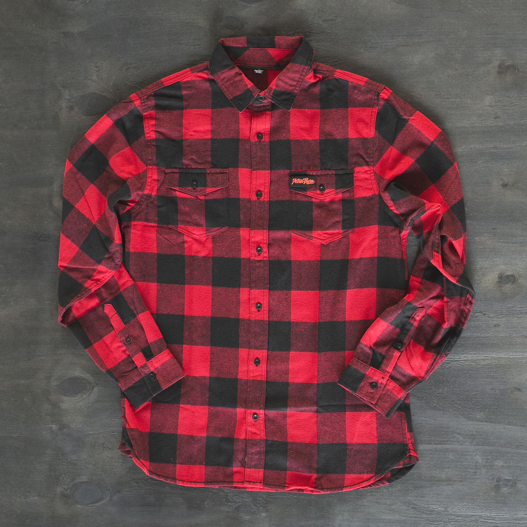 petrol burn clothing red plaid flannel moto lifestyle shirt
