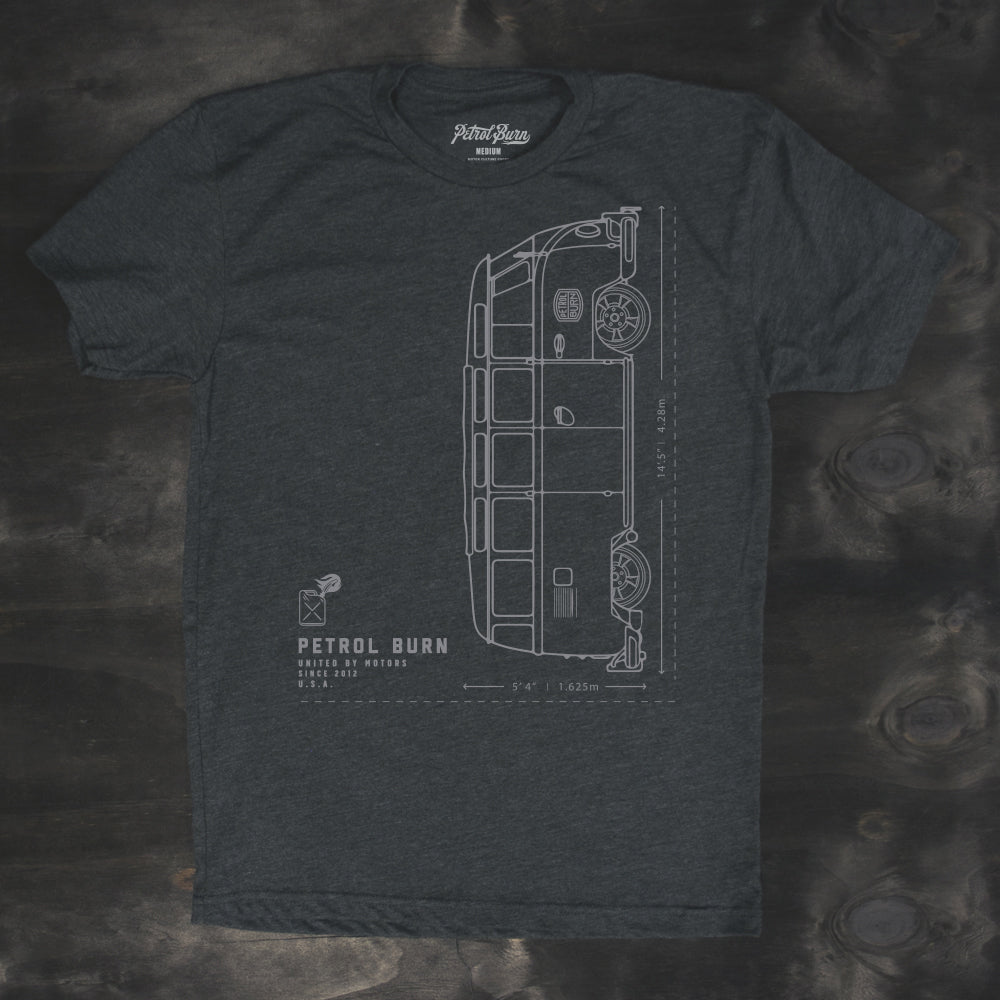 vw bus 21 window blueprint mens tshirt design
