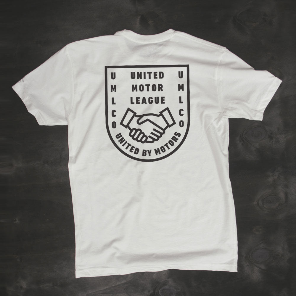 umlco white motorcycle automotive lifestyle tshirt