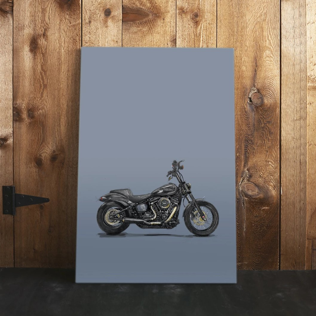custom Harley Davidson v-twin drawing canvas artwork