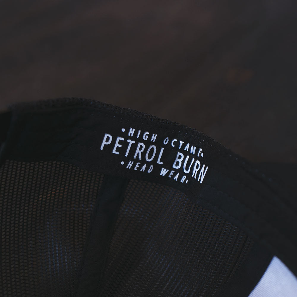 petrol burn hat detail tag