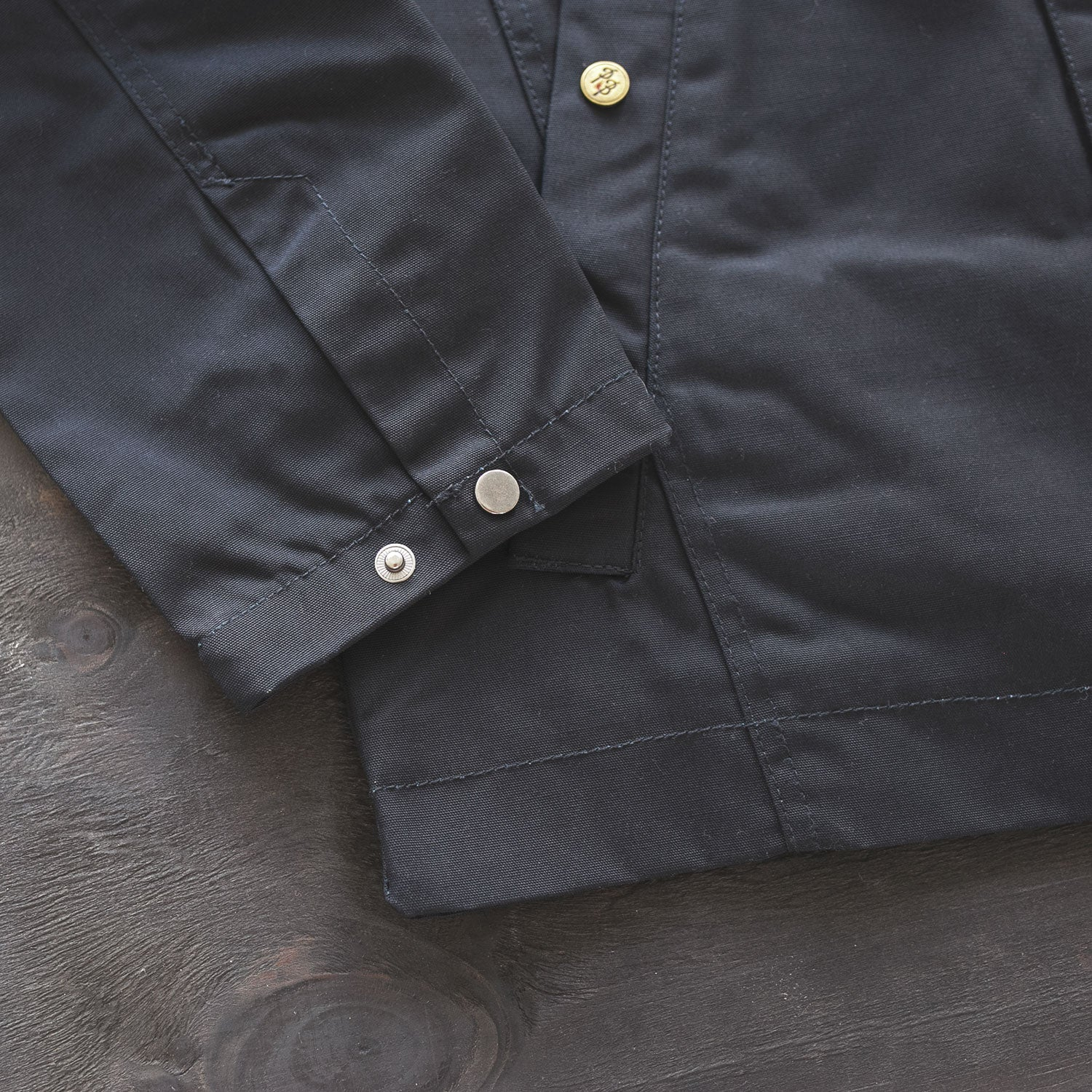 canvas work jacket details petrol burn