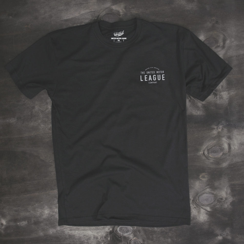 untied motor league men's black tshirt design