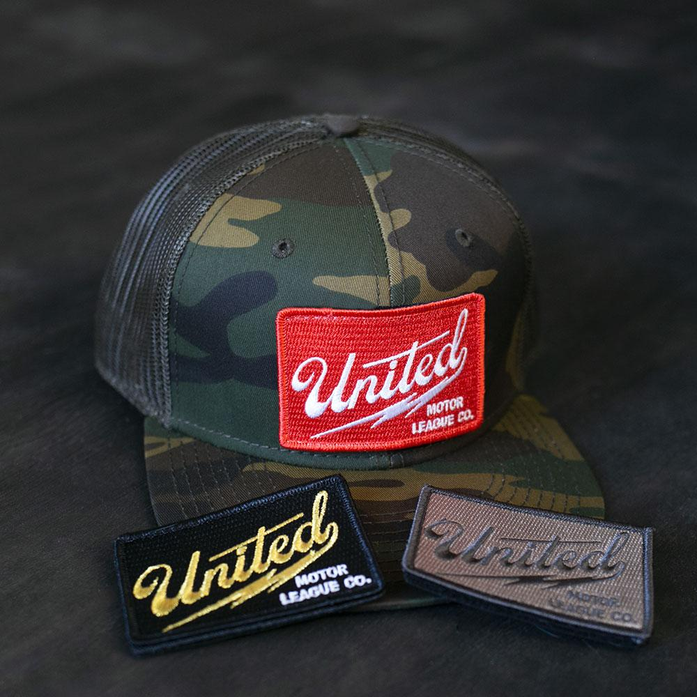 united motor league velcro patch logo hat camo trucker