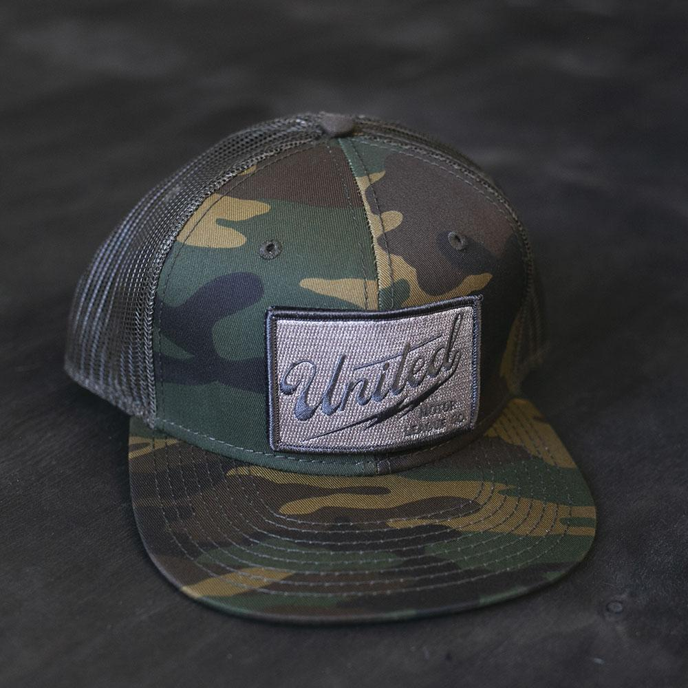 camo and gray umlco camo trucker hat