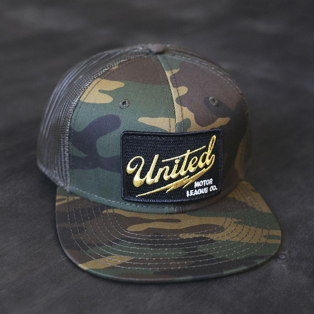 camo and black logo patch trucker hat