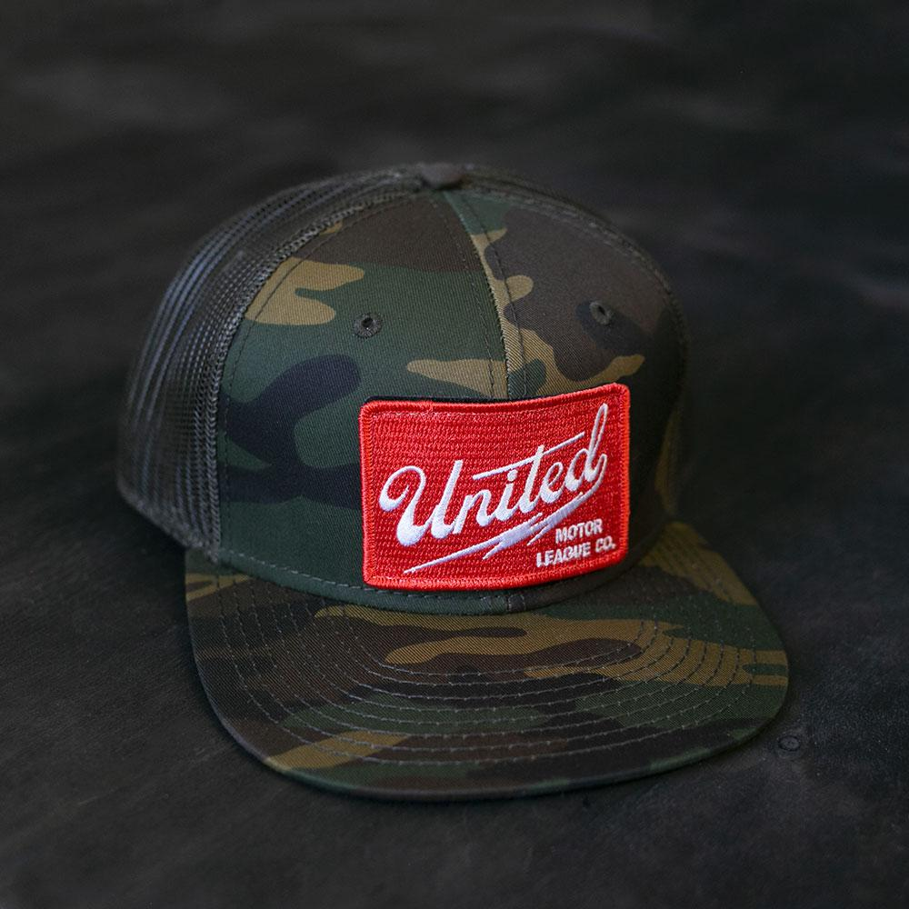 camo and red united motor league patch hat