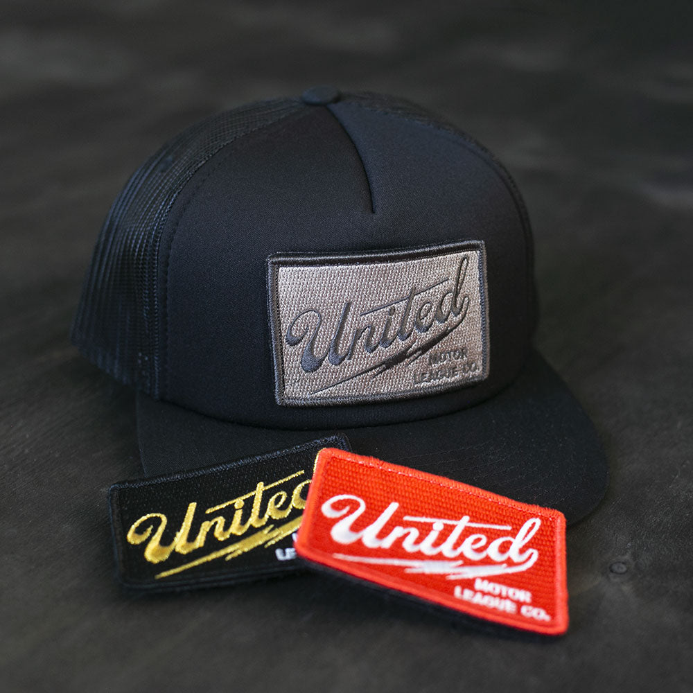 united motor league bolt patch hat for car and motorcycle lifestyle