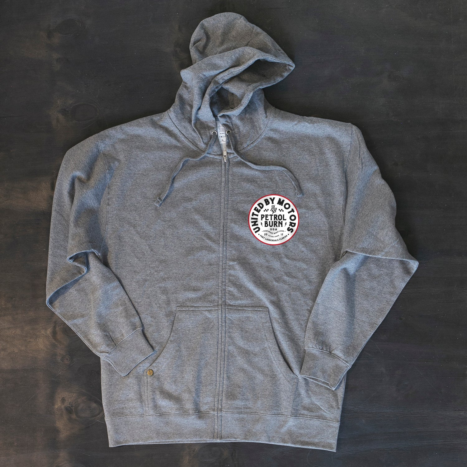 motorcycle and car enthisiast inspired zip hoodie