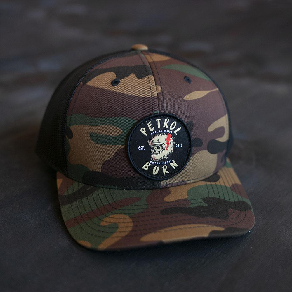 brain bucket skull logo motorcycle cafe racer camo patch hat