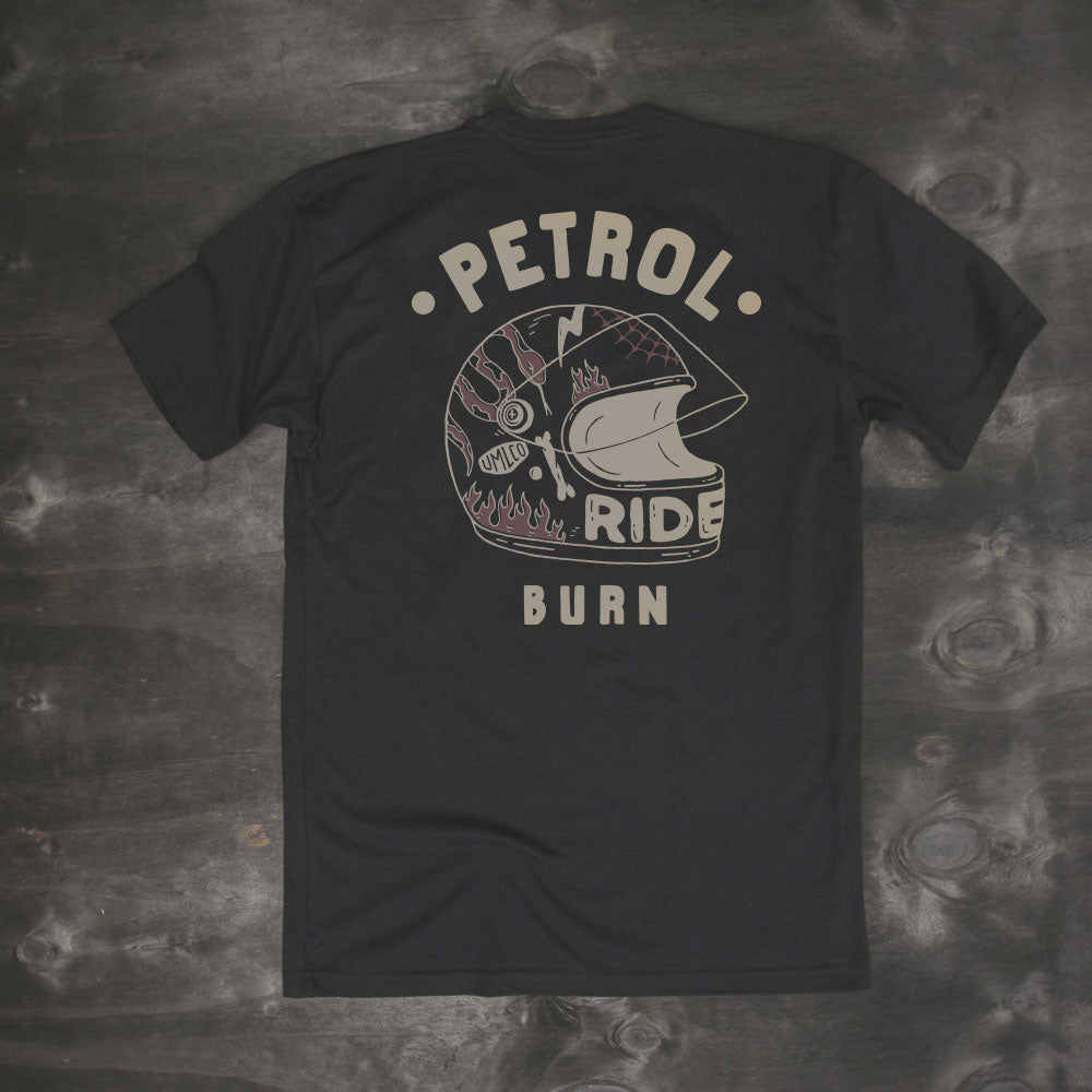petrol burn clothing black motorcycle helmet rider t-shirt