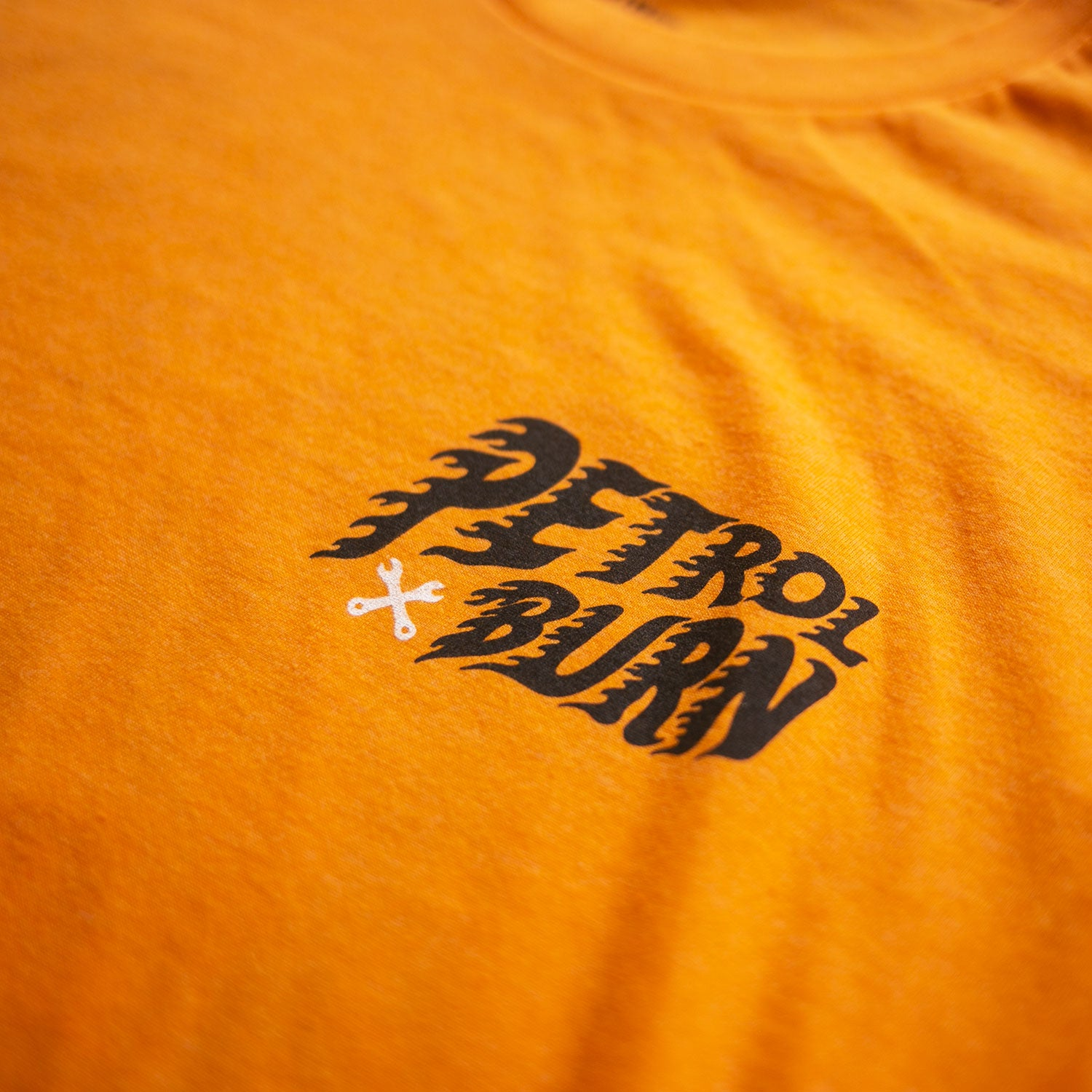 petrol burn logo tshirt orange