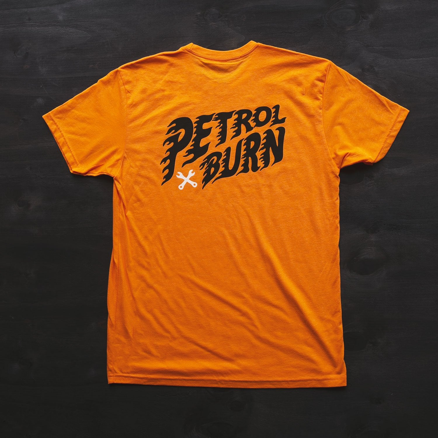 petrol burn orange moto lifestyle tshirt
