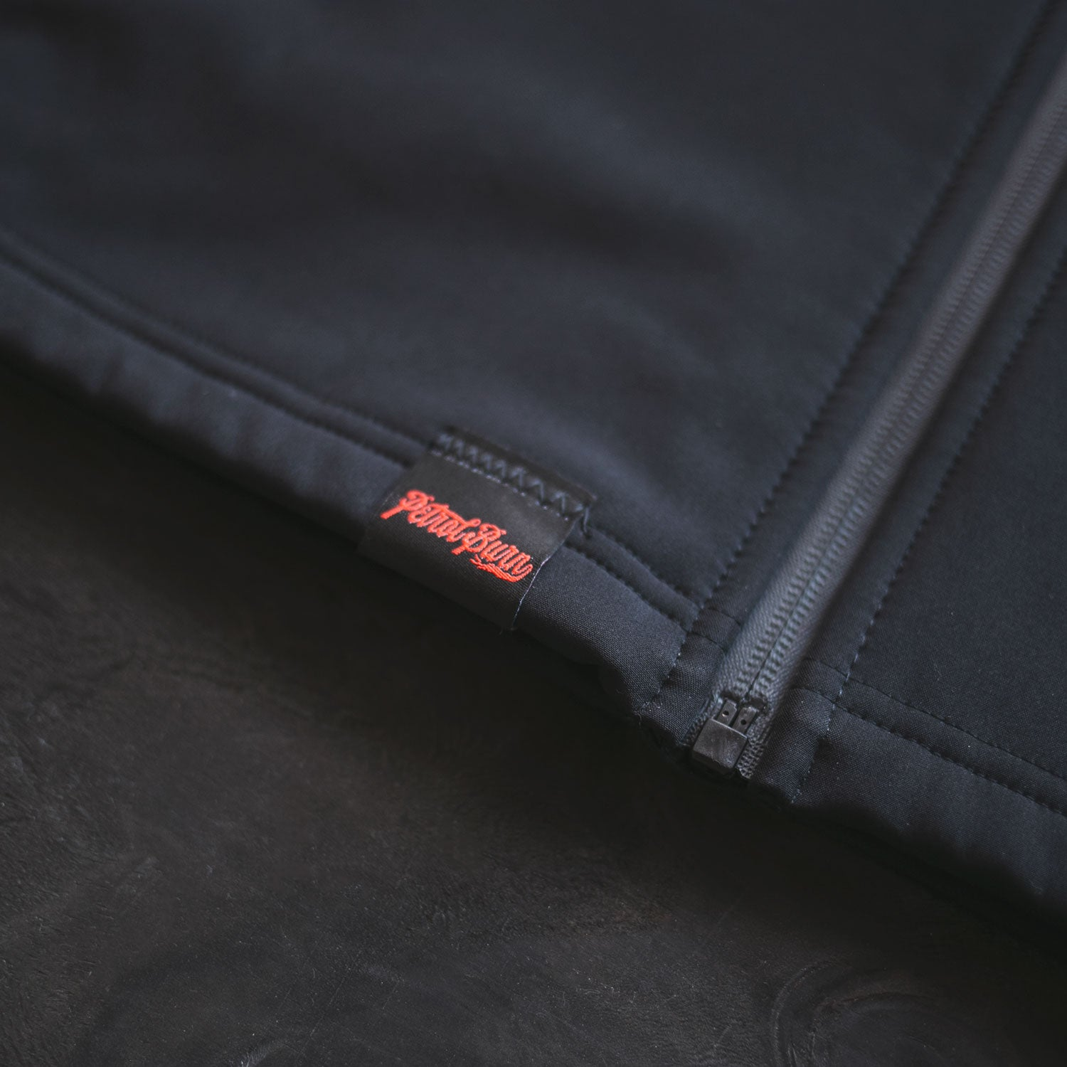 petrol burn detail labels high performance zip hoodie