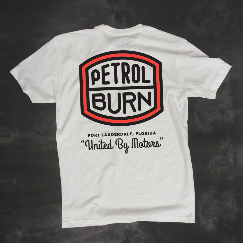 petrol burn retro motorcycle logo tshirt