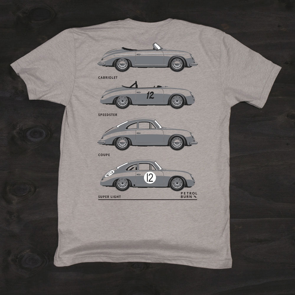 air-cooled classic porsche 356 outlaw models tshirt