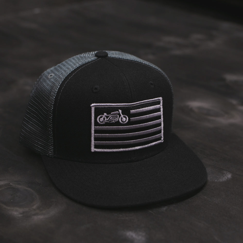 united moto motorcycle cafe racer rider trucker black and charcoal hat