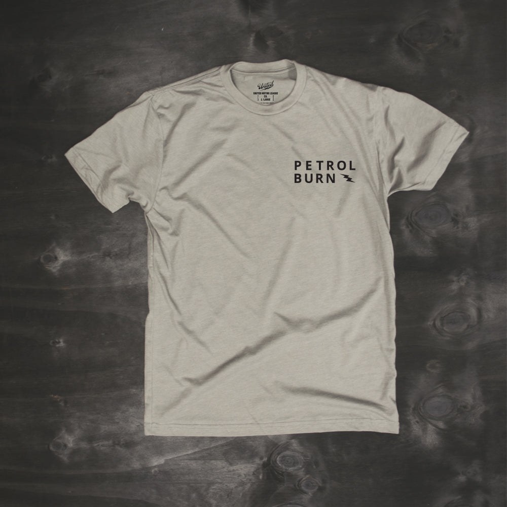 petrol burn by united motor league gray tshirt