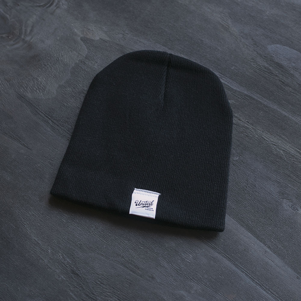 united motor league black motorcycle inspired winter beanie