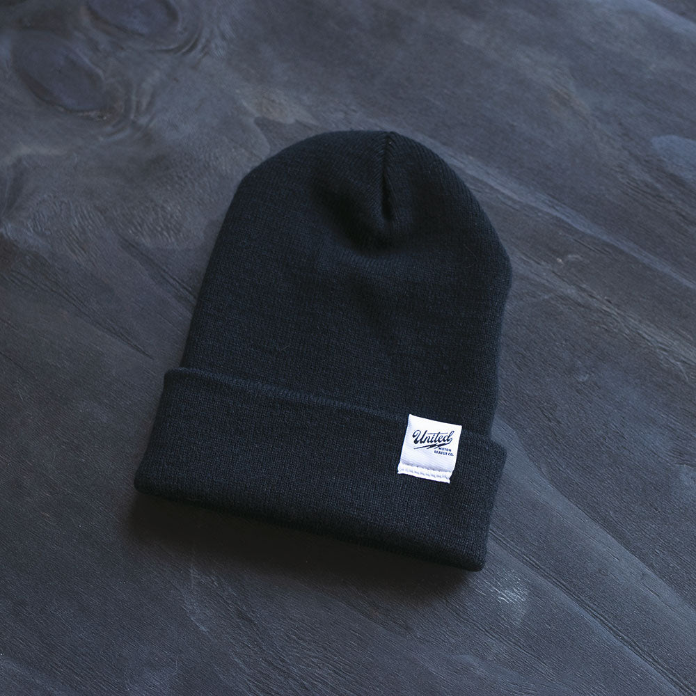 united motor league black knit beanie for motorcycle lifestyle