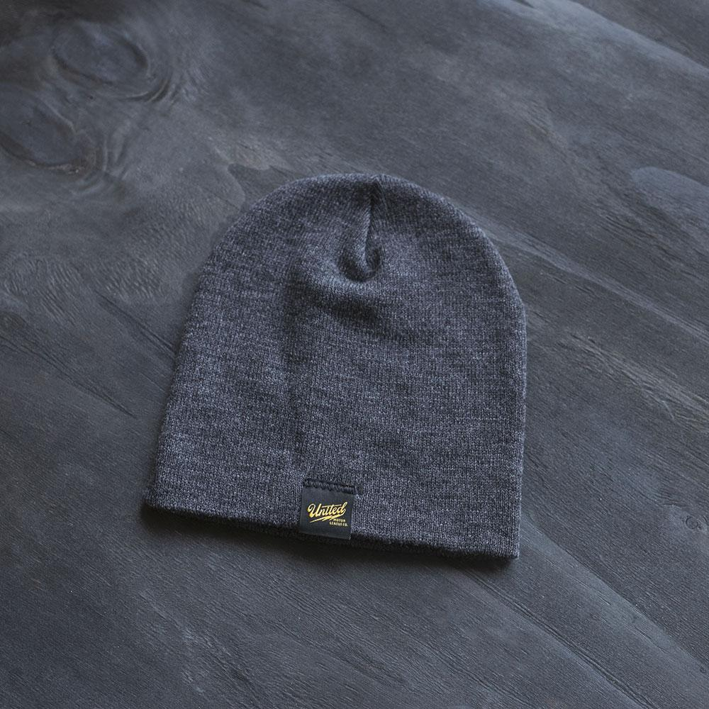 motorcycle cafe racer inspired winter beanie charcoal
