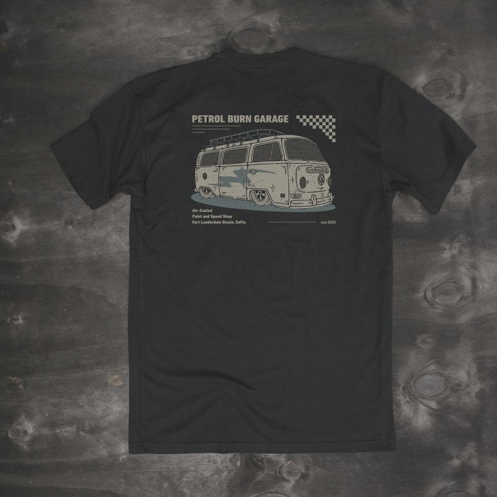 vintage vw bus kombi westfalia black mens t-shirt