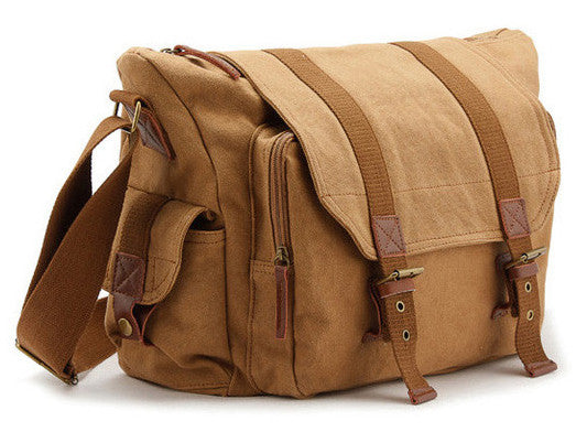 simple brown camera messenger bag for men