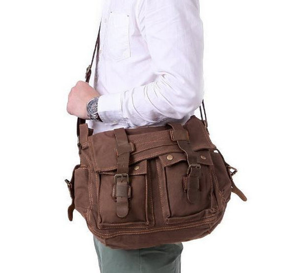 canvas and leather messenger bag for men by Serbags