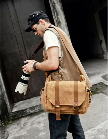 Artist on the go light brown messenger bag for men by Serbags