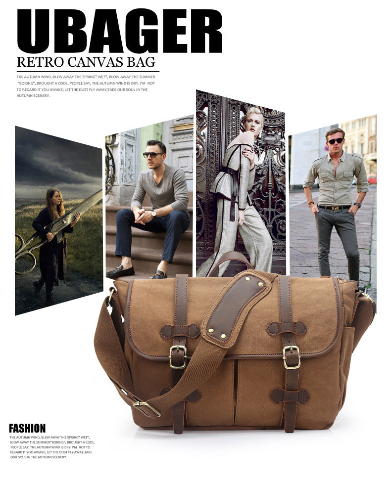 modern sleek canvas messenger bag