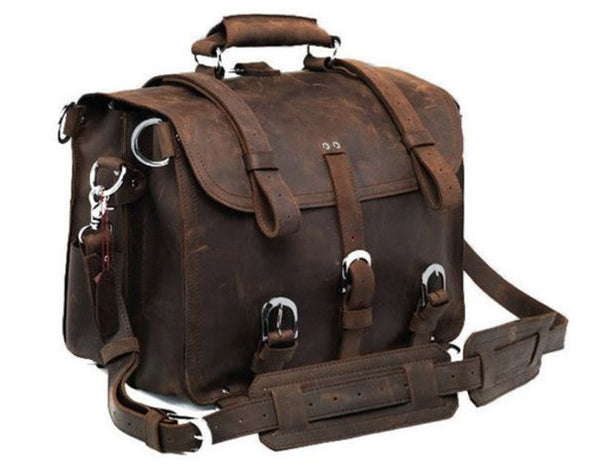 full grain leather heavy duty messenger bag by Serbags