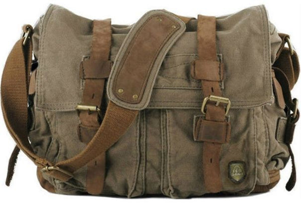 Military canvas messenger bag for men, with leather-padded shoulder strap