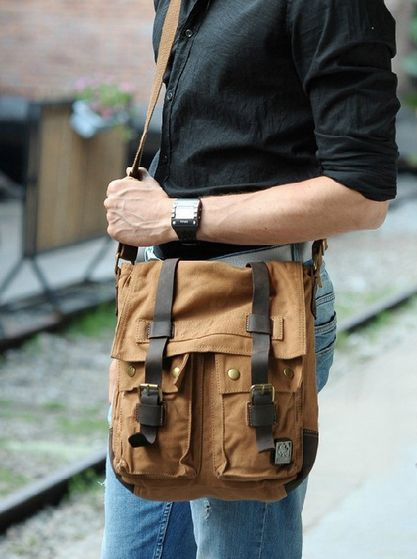 vertical light brown messenger bag for men by Serbags