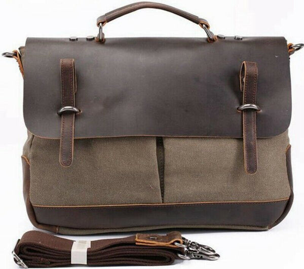 Men Canvas Business Messenger Bag  Genuine Leather Briefcase Travel Handbag