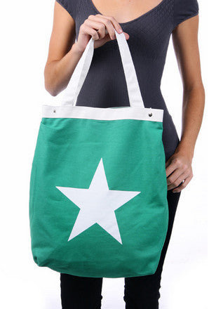 White Star Green Zipper Canvas Bag - Serbags  - 2