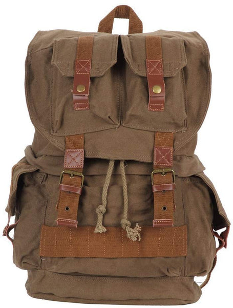 Army Green Canvas Hiking School Heavy Duty Rucksack Backpack with Many Pockets