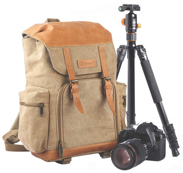 Fashion Camera Bag Backpack Vintage Canvas Camera Case for DSLR Mirrorless SLR Cameras Lens Tripod Photography Men Women with Waterproof Raincover