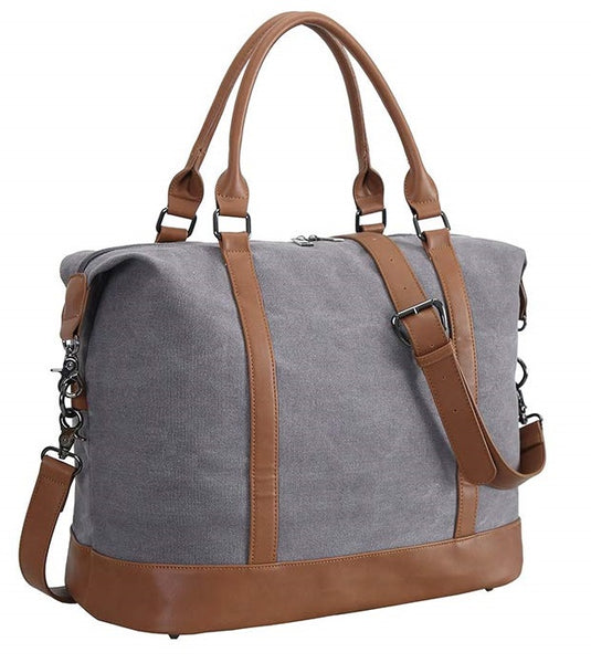 100% Cotton lining, quality Women Ladies Weekender Travel Bag Canvas Overnight Carry-on Duffel Tote Luggage (Gray)
