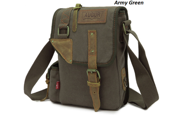 Canvas Leather Cross-Body Military Sling Hiking  Messenger Shoulder Bag for Men