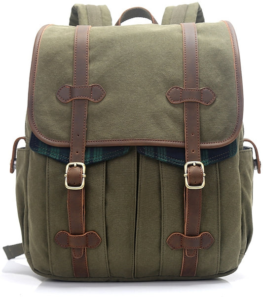 Laptop College Book Bag Backpack with Leather Straps