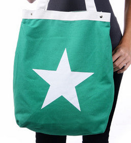 White Star Green Zipper Canvas Bag - Serbags  - 1