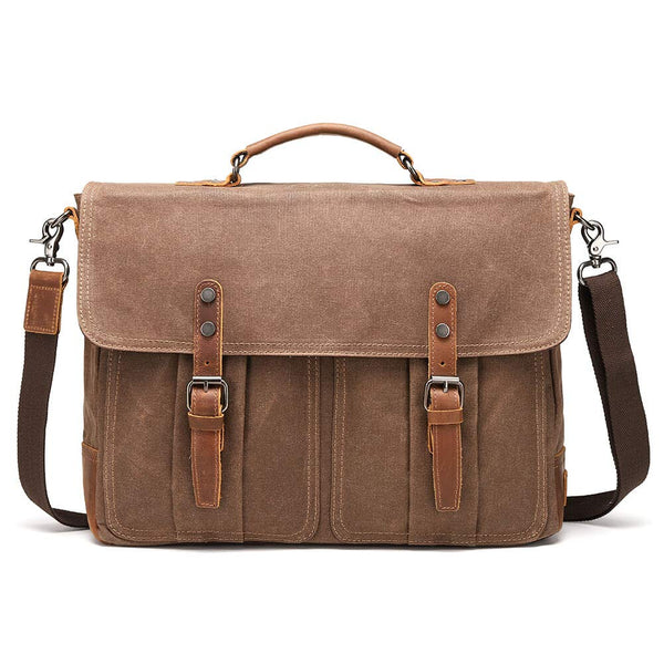 Mens Messenger Bag Vintage Leather Waxed Canvas Waterproof Shoulder Bag for 15.6 Inch Laptop Bag
