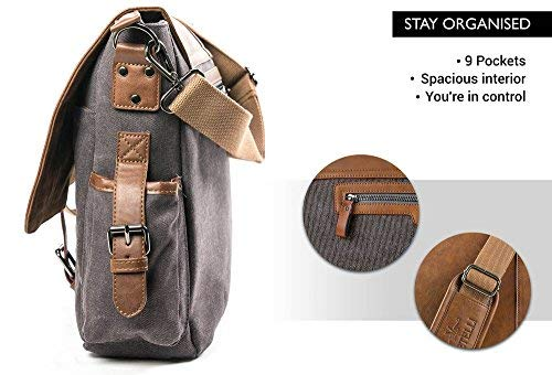 Messenger laptop bag is made from high-grade dark-grey canvas & a beautiful dark PU leather,