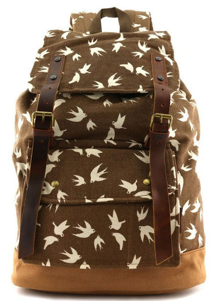 brown dove art print school rucksack for girls