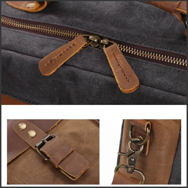Waxed Canvas Genuine Leather 15.6